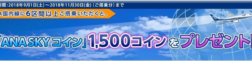 【ANA】対象者限定キャンペーン(6区間搭乗で1,500 ANA SKYコインプレゼント)の案内mailが届きました!