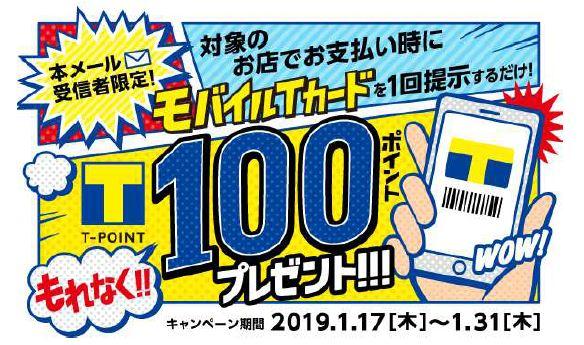 【Tポイント】『Tクーポンメール/★もれなく★100ポイントプレゼント!』が届いた!⇒終了しました!