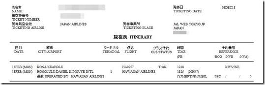20190218 コナ ホノルル チケット1