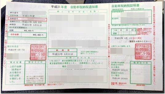 令和元年 自動車税